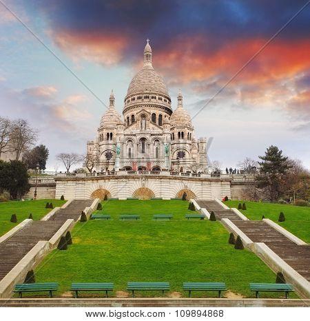 Sacre Heart Basilica Of Montmartre In Paris, France