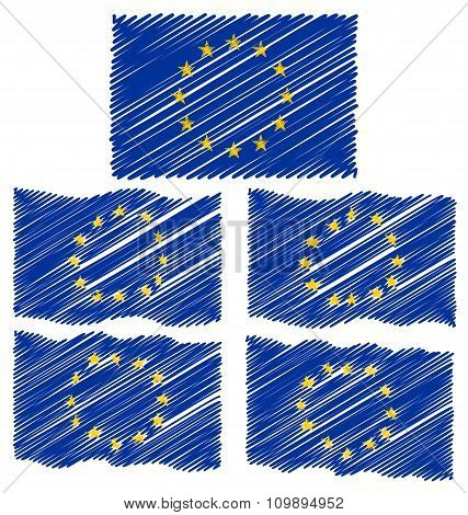Flat And Waving Hand Draw Sketch Flag Of Europe