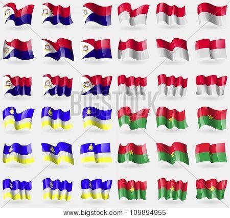 Saint Martin, Monaco, Buryatia, Burkia Faso. Set Of 36 Flags Of The Countries Of The World.