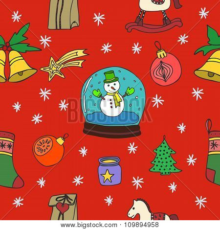 New Year seamless pattern. Happy New Year. Happy winter holidays. Merry Christmas. Hand Drawn Doodle