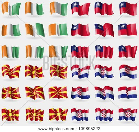 Cote Divoire, Taiwan, Macedonia, Crotia. Set Of 36 Flags Of The Countries Of The World.