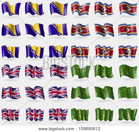 Bosnia And Herzegovina, Swaziland, United Kingdom, Adygea. Set Of 36 Flags Of The Countries Of The