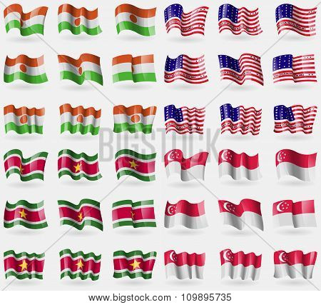 Niger, Bikini Atoll, Suridame, Singapore. Set Of 36 Flags Of The Countries Of The World.