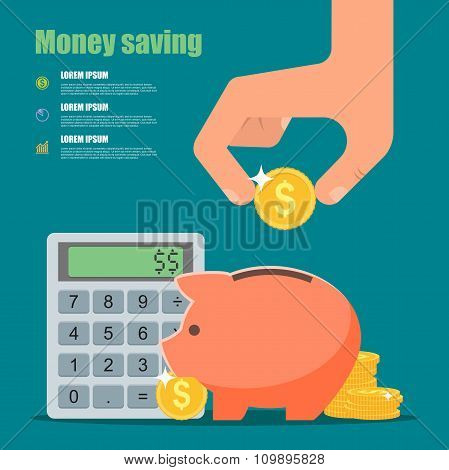 Money saving concept. Vector illustration in flat style design. Piggy bank, calculator, hand with co