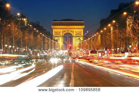Arc De Triomphe And Light Trails, Paris