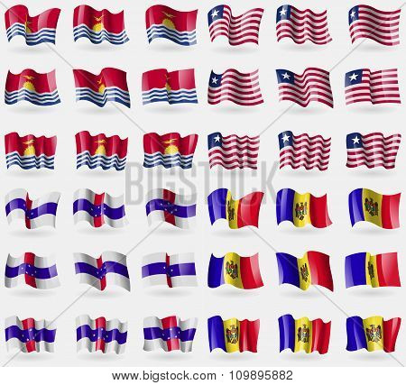 Kiribati, Liberia, Netherlands Antilles, Moldova. Set Of 36 Flags Of The Countries Of The World.