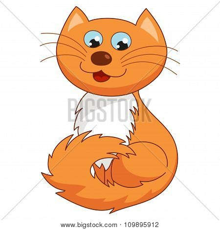 Ginger cartoon kitty, vector illustration of funny joyful cat