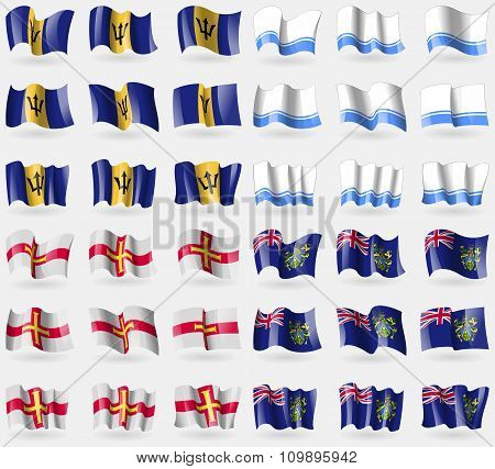 Barbados, Altai Republic, Guernsey, Pitcairn Islands. Set Of 36 Flags Of The Countries Of The