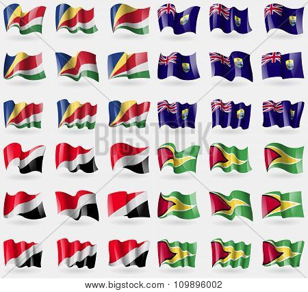 Seychelles, Saint Helena, Sealand Principality, Guyana. Set Of 36 Flags Of The Countries Of The