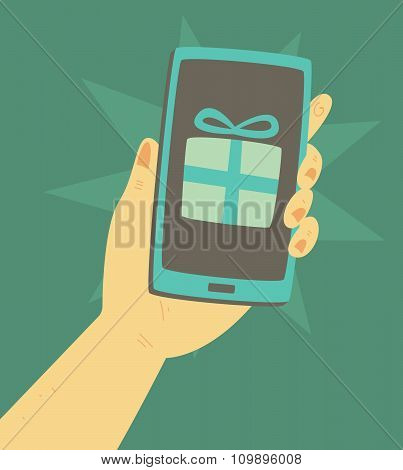 Cartoon Hand Holding A Smartphone With A Present In The Screen