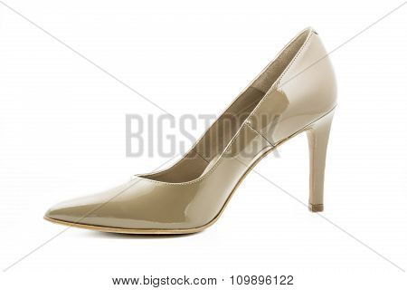Single high heel shoe isolated on white background