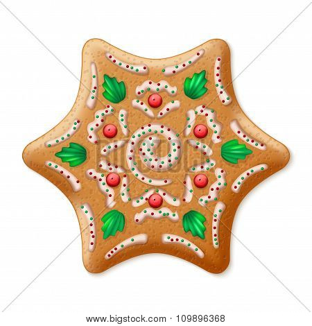 Ornate realistic vector traditional Christmas gingerbread Star. Vector illustration