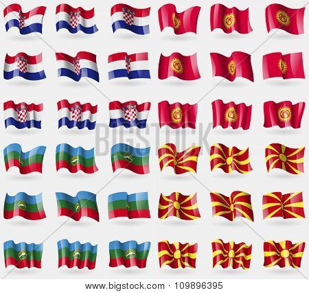 Crotia, Kyrgyzstan, Karachaycherkessia, Macedonia. Set Of 36 Flags Of The Countries Of The World.