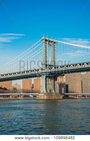 Manhattan bridge on summer day in New York
