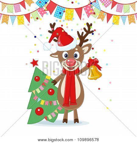 Christmas Card With Cartoon Deer