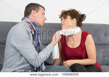 Bright Picture Of Couple On Sofa, Jealous Man