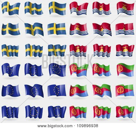 Sweden, Kiribati, European Union, Eritrea. Set Of 36 Flags Of The Countries Of The World.