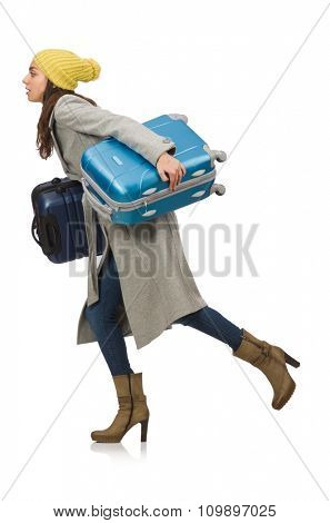 Woman with suitcase ready for winter vacation