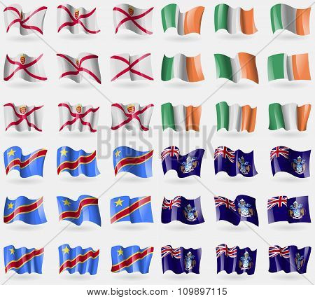 Jersey, Ireland, Congo Democratic Republic, Tristan Da Cunha. Set Of 36 Flags Of The Countries Of