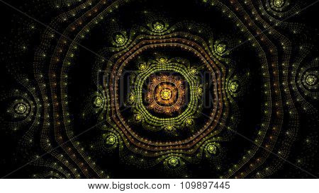Vintage Sunburst Fractal Art Illustration
