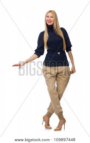 Tall woman in blue pullover isolated on white