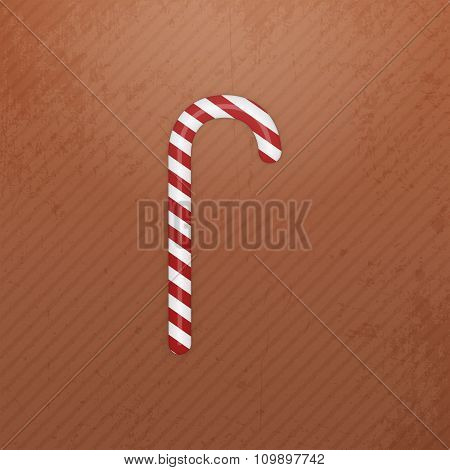 Realistic Christmas white red striped Candy Cane
