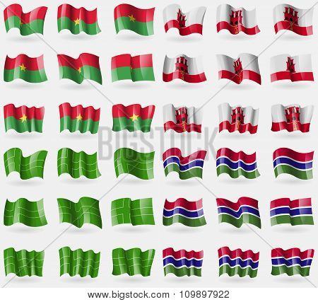Burkia Faso, Gibraltar, Ladonia, Gambia. Set Of 36 Flags Of The Countries Of The
