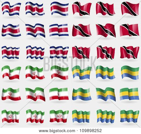 Costa Rica, Trinidad And Tobago, Iran, Gabon. Set Of 36 Flags Of The Countries Of The