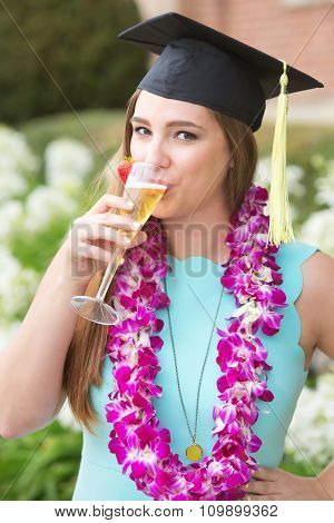 Graduate Sipping Wine