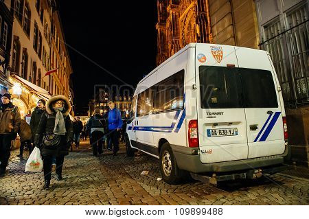 Cathedral Of Our Lady Of Strasbourg Visitors And Police Van