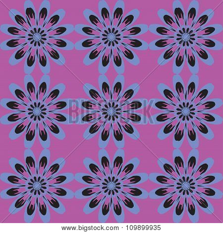 Seamless Pattern With Flowers. Vintage Texture. Monochrome Backdrop. Bright Purple Background.