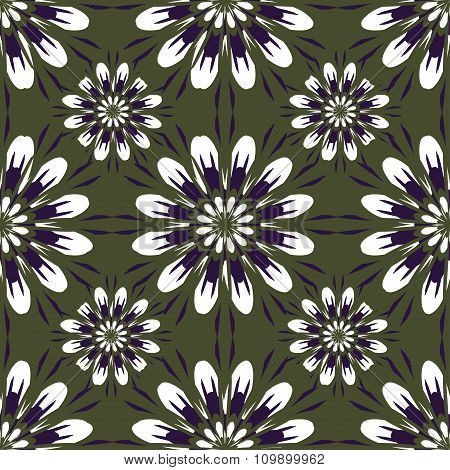 Seamless Pattern With Flowers. Vintage Texture. Monochrome Backdrop. Dark Green Background.