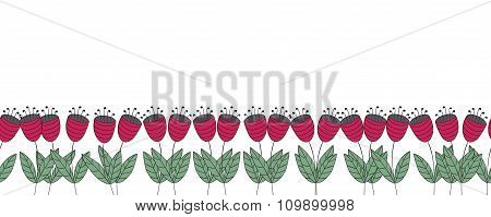 Banner With Flowers. Red Flat Bellflowers Seamless Border. Isolated Over White. Floral Background.