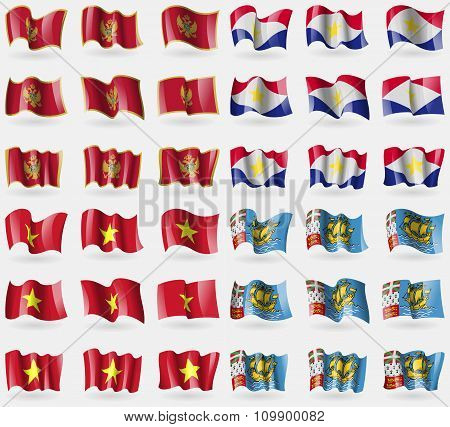 Montenegro, Saba, Vietnam, Saint Pierre And Miquelon. Set Of 36 Flags Of The Countries Of The