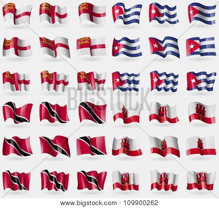Sark, Cuba, Trinidad And Tobago, Gibraltar. Set Of 36 Flags Of The Countries Of The World.