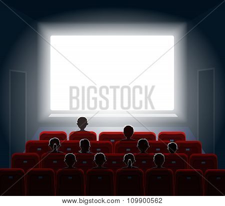People watching movie at cinema hall. Film screen, show or concert. illustration.
