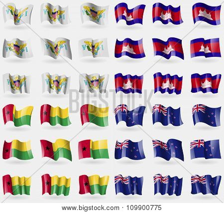 Virginislandsus, Cambodia, Guineabissau, New Zeland. Set Of 36 Flags Of The Countries Of The