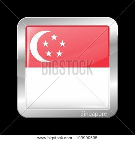 Flag Of Singapore. Metallic Icon Square Shape
