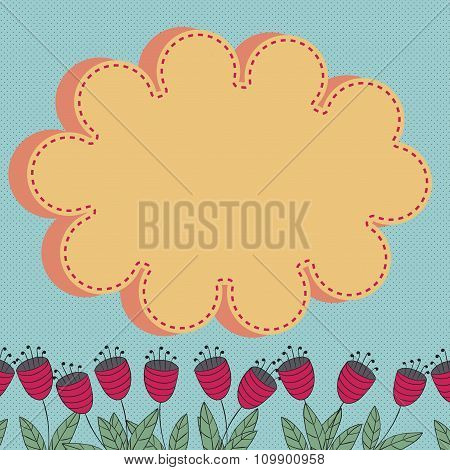 Floral Card With Stylized Flowers And Cloud Design Element With Place For Text.