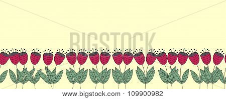Banner With Flowers. Red Flat Bellflowers Seamless Border. Isolated Over Yellow. Floral Background.