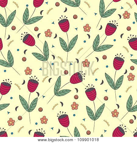 Cute Bellflowers Seamless Pattern. Vintage Yellow Background. Red Flat Flowers. Floral Texture.