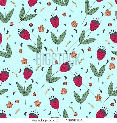 Cute Bellflowers Seamless Pattern. Vintage Blue Background. Red Flat Flowers. Floral Texture.