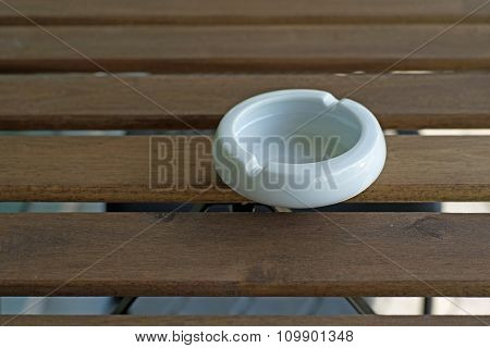 Empty White Ashtray