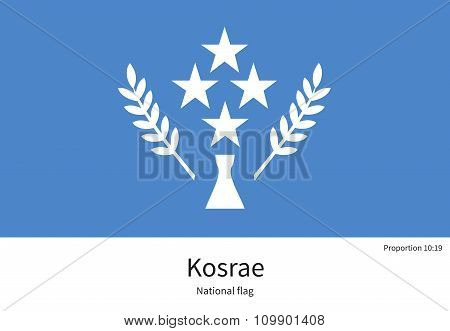 National flag of Kosrae with correct proportions, element, colors