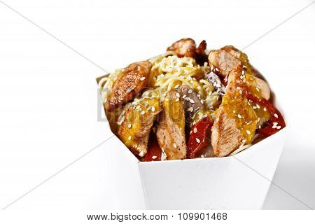 Delicious Wok Noodles Box With Sweet Sauce Chicken And Udon. Chinese And Asian Takeaway Fast Food. S