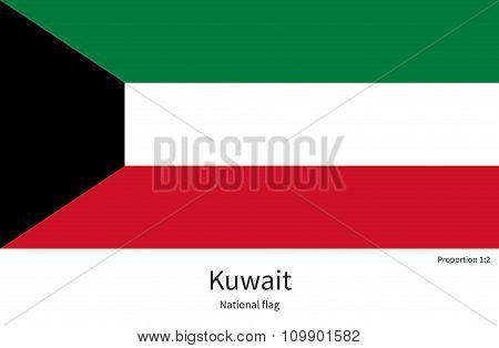 National flag of Kuwait with correct proportions, element, colors