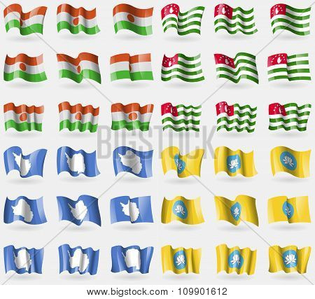 Niger, Abkhazia, Antarctica, Kalmykia. Set Of 36 Flags Of The Countries Of The World.