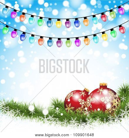 Christmas red Balls on a branch on a winter background, garland, snow and lights. Illustration