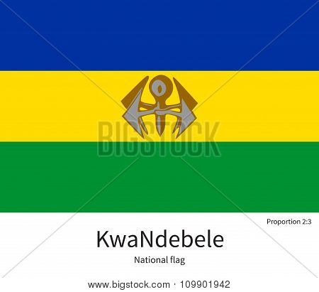 National flag of KwaNdebele with correct proportions, element, colors