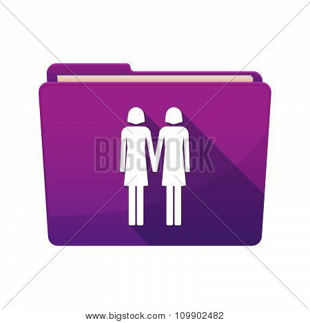 Long Shadow  Binder With  A Lesbian Couple Pictogram